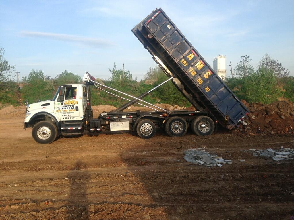 Rolloff Truck 20 Yard Dumpster Dumping Clean Dirt